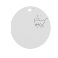 Sterling Silver Baby Stroller Round Pendant